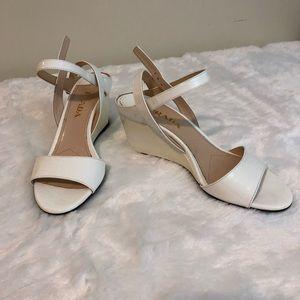 Prada white patent wedges 35.5 sandals